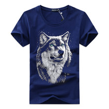High quality Free shipping    cotton 3d t shirt men 2018 summer new arrvial 3D funny wolf man's T-shirt extended plus size 5XL