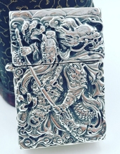 CQD 6*4*1.8cm Six carved reliefs S925 sterling silver hand carved Chinese ancient heroes guangong lighters(China)