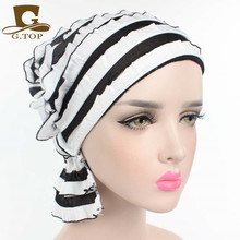 NEW Most popular Women wrinkle Ruffle Chemo Hat Beanie Scarf Turban Headwear for Cancer spring summer style(China)