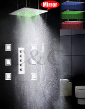 20 Inch Atomizing And Rainfall Bathroom LED Shower Faucet Set 4 Water Functions Work Together Or Separately