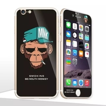 Glow in the dark luminous smoking big mouth monkey Tempered Glass film Screen Protector+back cover for iPhone 6 case 6 Plus