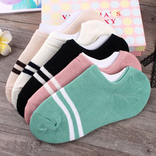 female cotton socks low four seasons Korean version shallow mouth boat soks deodorant pure color calcetines sports socken sox(China)
