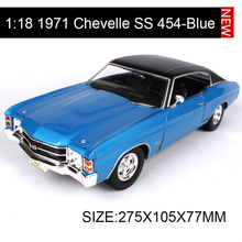 1:18 diecast Car Chevy Chevelle SS 454 Sport Blue Muscle Cars 1:18 Alloy Car Metal Vehicle Collectible Models toys For Gift