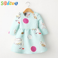 Summer 2017Autumn children Clothes Girl Dress Swan Printing Nine Points Sleeve Pretty Princess Dress Fashion Party Girls Clothes