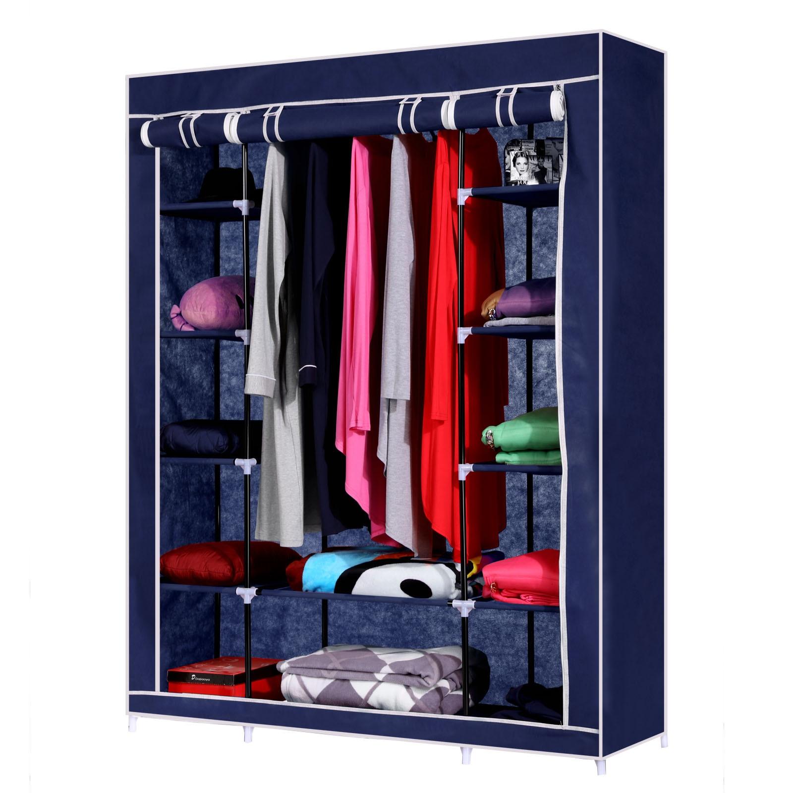 Homdox Non-Woven Wardrobe Combination Wardrobe Double Folding Wardrobe Assembling Home Furnishing Decoration Coat Hangers #30-27<br>
