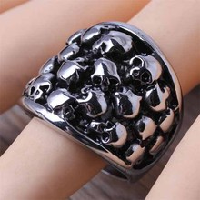 Hot Selling Stainless Steel Fashion Men's Many Skull Head Finger Rings Cool Gothic Biker Skeleton Jewelry 2015 Size 8-12 (A400)