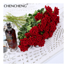 CHENCHENG FLOWERS Flower Artificial Rose Flores Branch Fresh Foliage Wedding Decoration Bride Favorite Love rose Petal Branch(China)