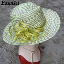 Wide Brim Fedora Hat Woven Paper Straw Sun Hats Green Sinamay Tropical Women Summer Hats Floral Unique Casual Straw Cap T254(China)