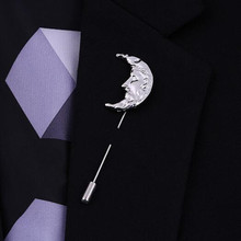 Bovvsky Fashion metal brooch pin Unisex Men Sun Moon Brooch Pins Collar Suit Stick Breastpin Lapel Pin Accessories For Gift