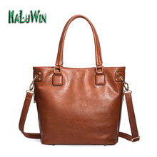 Haluwin NYF fashion women handbag casual tote style big good quality business bag solid bag versatile leather shoulder factory