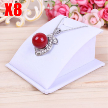 Wholesale 8pcs/lot White PU Black Velvet Necklace Pendants Show Mini Jewellery Display Stand Holders(China)