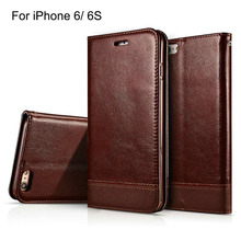 Slim Luxury Flip Cover For Mobile Phone iPhone 6 6s Leather Case Band Original Soft Natural Skin With Glass Sreen Protector(China)