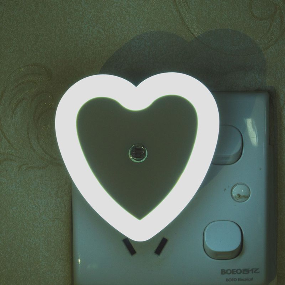 SuperNight Heart AC LED Night Light Intelligent Light Control Sensor Corridor Stairs Bedroom Bedside Toilet Home Decor Wall Lamp (8)