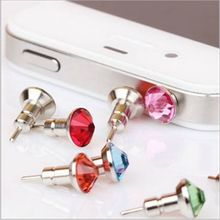 Hot sale Luxury Diamond Rhinestone crystal dust plug earphone jack with Check card pin plugs for cell phone 10pcs/lot wholesale