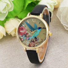 NEW Women Watches Relogio Blue Hummingbird Women Leather Band Analog Quartz Movement Wrist Watch #0428