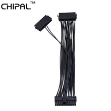 CHIPAL 30CM PSU Adapter ATX 24Pin Male to Female Dual Molex Power Supply Sync Starter Extender Cable For Bitcoin Litecoin Miner(China)