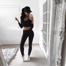 2017 Sport Suit Tracksuit for Women Cotton Leggings Tight Yoga Set Full Sleeve Sports Vest Running Tights Gym Fitness Sport Wear