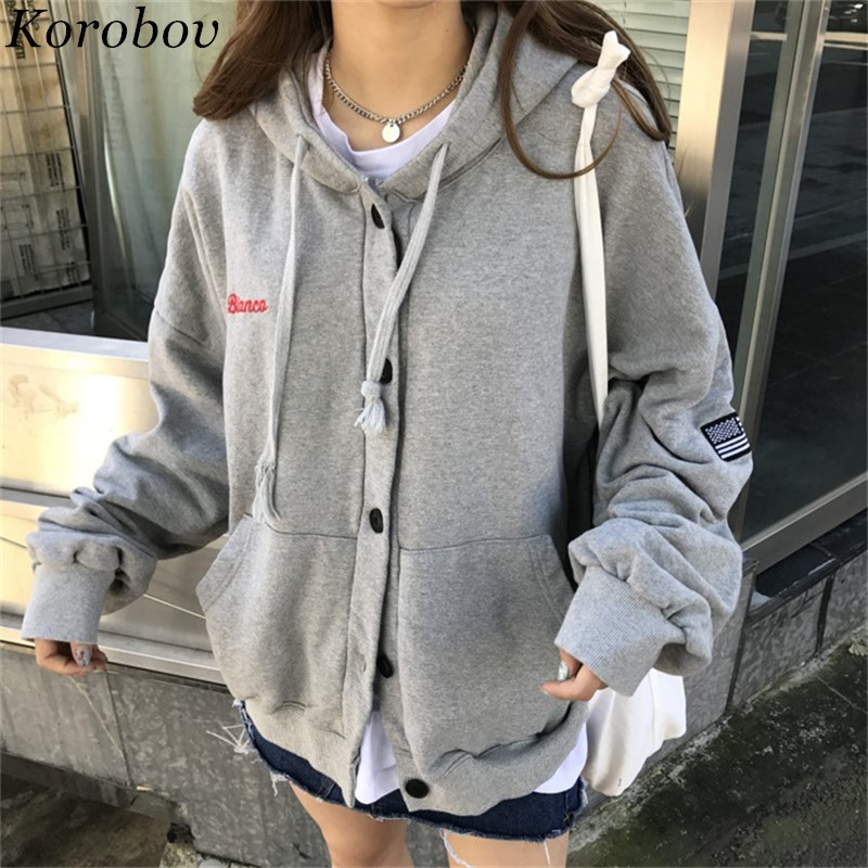 Korobov 2018 Autumn Winter Korean Women Hoodies Hooded Embroidery Pockets Moletom Long Sleeve Thick Button Sweatshirts 51099