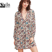 SheIn Summer Bohemian Dress Multicolor Floral Print V Neck Crochet Insert Dress Long Sleeve Pleated A Line Dress
