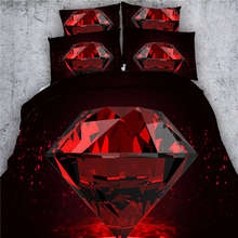 Red Diamond Black Bedding Sets 3D Printing Comforter Cover Sets Twin Full Queen King Sizes Bed Linen 3/4PCs 500TC Girls Coverlet