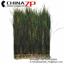 Yiwu ZP Crafts Co., Ltd High Quality Naturally Green with Some Gold Shine Densely Silk Peacock Feathers Strung