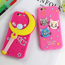 Clespruce Luxury 3d cute Sailor Moon design soft silicon mobile phone case lovely rubber cover for iphone 6 6s plus 5s(China)