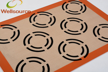 420*295*0.7mm/16.53x11.61inch Silicone Biscuit Muffin Oven Baking Liner Silicone Baking Rug With 8 Cookie Circles Sheet(China)