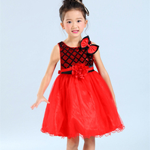 3-14T girls sundress red white evening gowns lace dresses girls 10 years birthday party dress baby girl frocks for girls zq48(China)