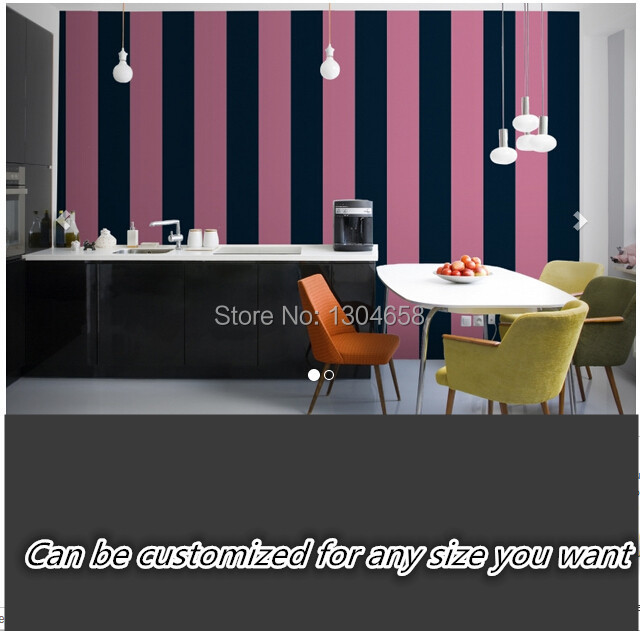 Free shipping custom large murals corridors kitchen background wallpaper Pink and Blue Stripes Wallpaper silk fabric<br>