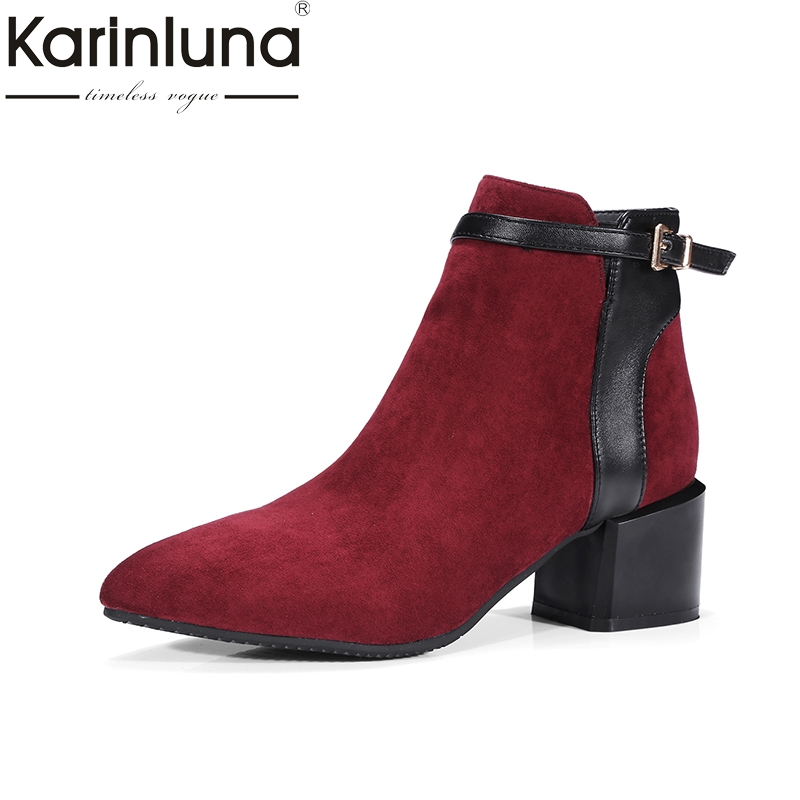 KARINLUNA 2017 Large Size 34-43 Add Fur Women Shoes Fashion Square Med Heels Flock Chelsea Boots Retro Ankle Boots Woman<br>