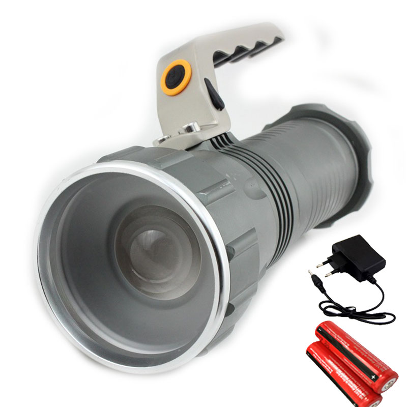 Long Range Searchlight Flashlight Led Flashlight Cree T6 Rechargeable Powerful Flash Search Light Torch +18650 Battery +Charger<br><br>Aliexpress