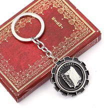 ZIDOM 2016 hot anime  attack on titan Wing of Liberty  keychain can  rotate alloy key ring   chaveiro for novetly gift