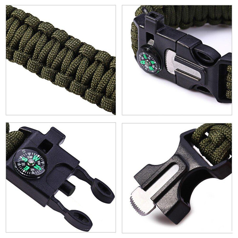 Bracelet paracorde réglable avec sifflet et boussole