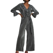 Buy 2017 autumn womens clothing casual stripe rompers womens jumpsuit ruffles women rompers lace-up jumpsuit women for $16.03 in AliExpress store