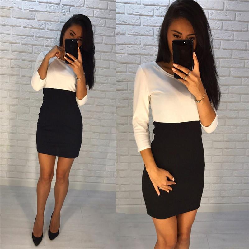 Rose-petunie-2017-autumn-fashion-kaki-and-black-patchwork-dresses-sheath-3-4-sleeve-o-neck (2)