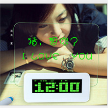 2017 New Designer Blue LED Fluorescent Projection Digital LED Alarm Clocks Message Board USB 4 Port Hub  Birthday Gift