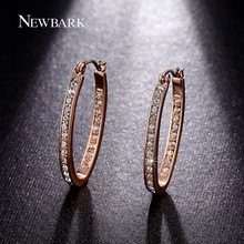 NEWBARK Hoop Earrings Huge Oval Rhinestones Paved Vintage Rose Gold Color Brinco Jewelry Wedding Bijoux Femme Christmas Gift(China)