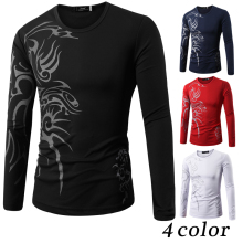 Autumn Tattoo Print Tops Tees Long Sleeve camisas hombre T Shirt Causal T shirt Men's Round Neck Brand T Shirt Fashion