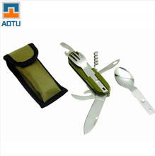 AOTU Folding Cutlery Stainless Steel Dinnerware Portable Foldable Knife Fork and Spoon Camping Multi Outdoor Picnic Tools 1 Set