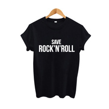 Save Rock'N' Roll Hipster Women T Shirt Fall Out Boy Punk Rock Harajuku tshirt Tumblr Hipster Street Black White T-shirt(China)