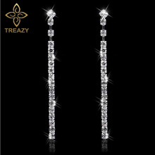 TREAZY Diamante Rhinestone Long Strip Earrings Silver Plated Crystal Dangle Earrings For Women Fashion Bridal Party Jewelry(China)