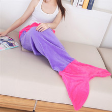 Quilt Mermaid blanket tail fleece throw plush plaid On sofa Bed fluffy bedspreads covers bed knitted children and adult blanket