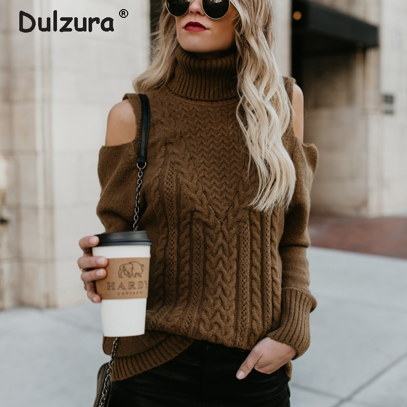 Elegant Cold Shoulder Knitted Sweaters Pullovers Women 2018 Autumn Winter Thick Warm Turtleneck Jumper Femme Cozy Women Knitwear