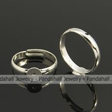 Brass Pad Ring Bases,  Lead Free and Cadmium Free,  Adjustable,  Silver Metal Color,  Size: Ring: about 17mm in inner diameter