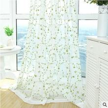 Pastoral floral voile curtain balcony Bedroom Living Room French window Wave window curtain Small fresh floral tulle curtain