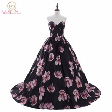 Luxury Evening Dresses vestido longo festa Dress Formal Arabic Evening Gowns Strapless Sweetheart Ball Gown Print Prom Dresses(China)
