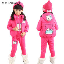 Girls clothes 2017 Autumn And Winter cute hello kitty sports suit children clothes girls sets 3pc vest+Hooded sweater+pants suit