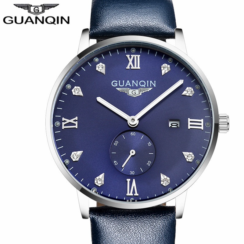 GUANQIN Watches Luxury Mens Fashion Casual Top Brand Quartz Watch Calendar Men Sport Waterproof Leather Wristwatch reloj hombre<br>