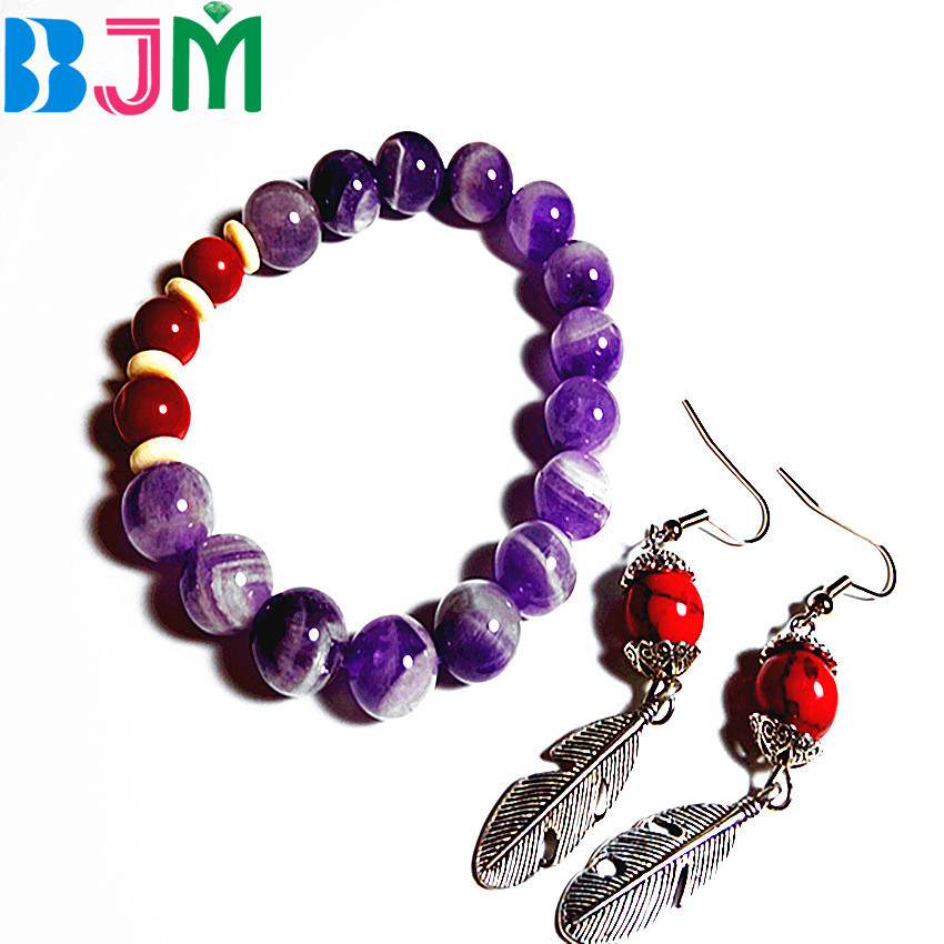 Lady Jewelry Sets Purple Swarovski Crystal Bracelet Bangles Feather long Earrings Chain for women And Girls Gift(China)