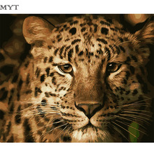 MYT Leopard Painting Picture By Number DIY Handpainted Wall Arcylic Paint Landscape Gift 40X50 cm Coloring By Number Atrs(China)
